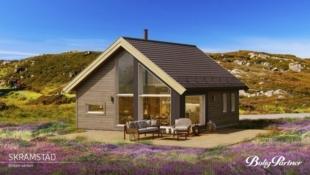 MALANGSLIA HYTTEFELT- Fjord og lakseelver, fjell og storslått natur er nærmeste naboer. BoligPartners modell SKRAMSTAD – hytte med smart planløsning, store åpne vinduer og god hemsløsning med mulighet for ekstra soveplasser!