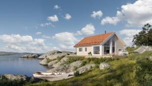 Arealeffektiv hytte med båtplass, 90 meter fra sjøkanten!