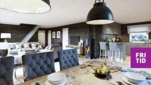 Birkenhytta Midtfjellet - med gulvareal på 108m2, romslig hems (39m2) og 3 sov. Nøkkelferdig hytte! Flott turterreng, ski in/out langrenn, solrikt og god utsikt!