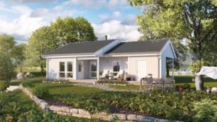 Smart vinkelhus på ett plan, tilpasset alle livets faser på solrike Spillumsåsen